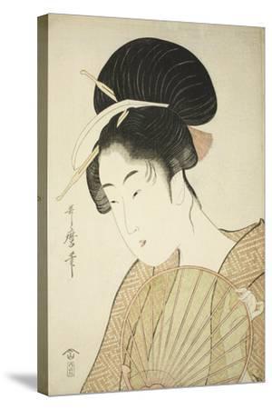 Woman Holding a Round Fan, C.1797-Kitagawa Utamaro-Stretched Canvas Print