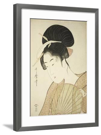 Woman Holding a Round Fan, C.1797-Kitagawa Utamaro-Framed Giclee Print