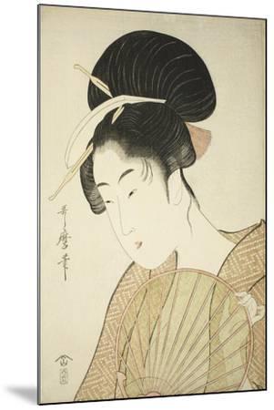 Woman Holding a Round Fan, C.1797-Kitagawa Utamaro-Mounted Giclee Print