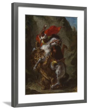 Arab Horseman Attacked by a Lion, 1849-50-Eugene Delacroix-Framed Giclee Print