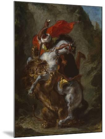 Arab Horseman Attacked by a Lion, 1849-50-Eugene Delacroix-Mounted Giclee Print
