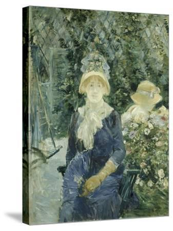 Woman in a Garden, 1882-83-Berthe Morisot-Stretched Canvas Print
