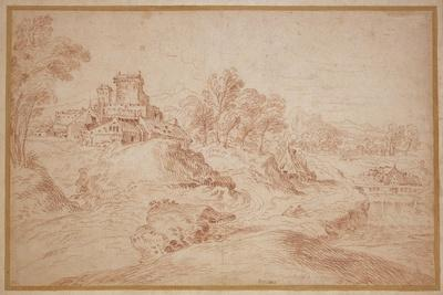 Landscape with a Castle, 1716-18-Jean Antoine Watteau-Mounted Giclee Print