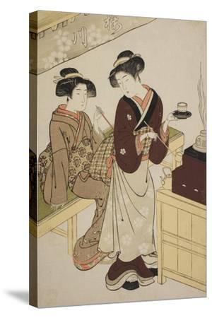 The Sakuragawa Teahouse, C.1777-Kitao Shigemasa-Stretched Canvas Print