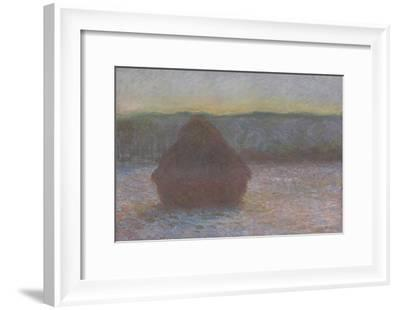 Stack of Wheat (Thaw, Sunset), 1890-91-Claude Monet-Framed Giclee Print