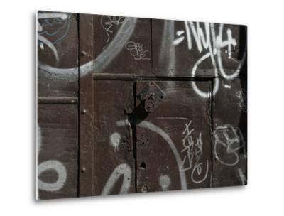 Graffiti on Gate, Spitalfields, London-Richard Bryant-Metal Print