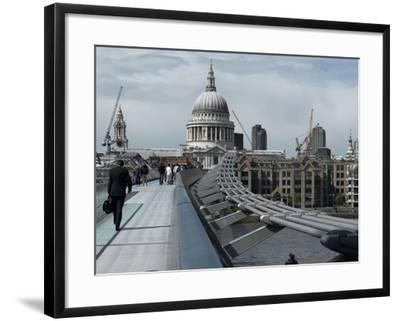 Millenium Bridge, Southbank, Southwark, and the Dome of St Pauls Cathedral-Richard Bryant-Framed Premium Photographic Print