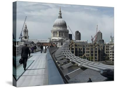 Millenium Bridge, Southbank, Southwark, and the Dome of St Pauls Cathedral-Richard Bryant-Stretched Canvas Print