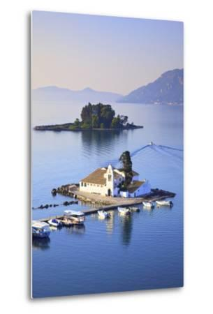 Elevated View to Vlacherna Monastery and the Church of Pantokrator on Mouse Island, Kanoni-Neil Farrin-Metal Print