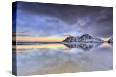 Sunset on Skagsanden Beach Surrounded by Snow Covered Mountains, Lofoten Islands-ClickAlps-Stretched Canvas Print
