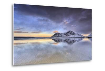 Sunset on Skagsanden Beach Surrounded by Snow Covered Mountains, Lofoten Islands-ClickAlps-Metal Print