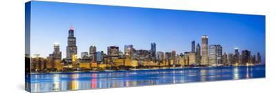 Usa, Illinois, Chicago. the City Skyline and a Frozen Lake Michigan.-Nick Ledger-Stretched Canvas Print