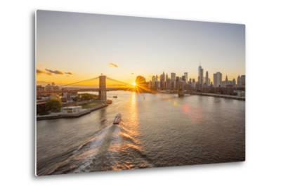 Usa, New York, Lower Manhattan Skyline and Brooklyn Bridge over East River at Sunset-Alan Copson-Metal Print