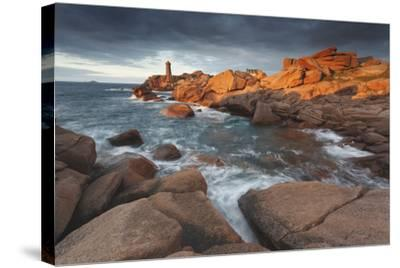 Pink Granite Coast, Brittany, France. the Ploumanach Lighthouse (Men Ruz) an Sunset.-ClickAlps-Stretched Canvas Print