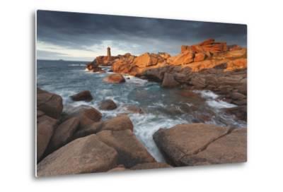 Pink Granite Coast, Brittany, France. the Ploumanach Lighthouse (Men Ruz) an Sunset.-ClickAlps-Metal Print