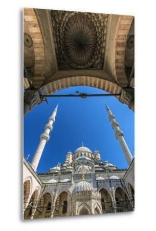 Inner Courtyard Low Angle View of Yeni Cami or New Mosque, Istanbul, Turkey-Stefano Politi Markovina-Metal Print