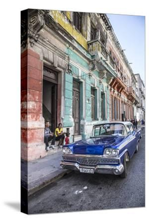 Classic 50s America Car in the Streets of Centro Habana, Havana, Cuba-Jon Arnold-Stretched Canvas Print