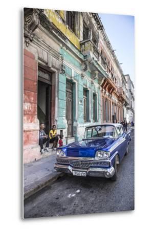 Classic 50s America Car in the Streets of Centro Habana, Havana, Cuba-Jon Arnold-Metal Print