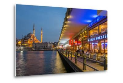 Outdoor Restaurants under Galata Bridge with Yeni Cami or New Mosque at Dusk, Istanbul-Stefano Politi Markovina-Metal Print
