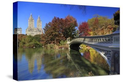 Usa, New York City, Manhattan, Central Park, Bow Bridge-Michele Falzone-Stretched Canvas Print