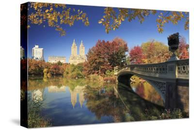 Usa, New York City, Manhattan, Central Park, Bow Bridge-Michele Falzone-Stretched Canvas Print