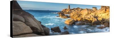 Ploumanach Lighthouse, Cote De Granit Rose, Cotes D'Amor, Brittany, France-Peter Adams-Stretched Canvas Print