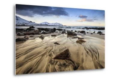 Sunset at Skagsanden Beach, Lofoten, Norway-ClickAlps-Metal Print