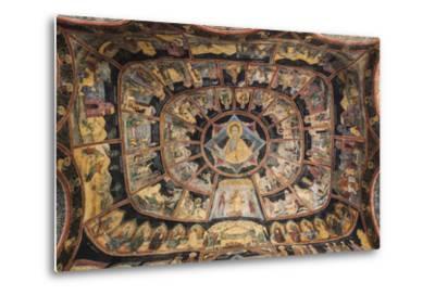 Romania, Transylvania, Sinaia, Sinaia Monastery, Small Church, Exterior Frescoes-Walter Bibikow-Metal Print