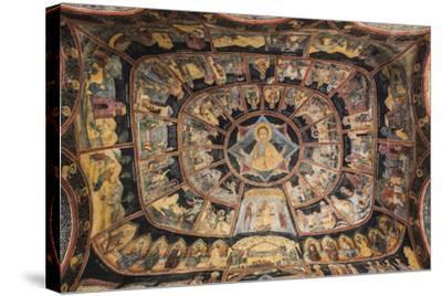 Romania, Transylvania, Sinaia, Sinaia Monastery, Small Church, Exterior Frescoes-Walter Bibikow-Stretched Canvas Print