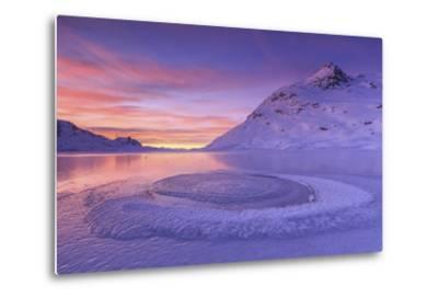 Lake Bianco at Bernina Pass. Canton of Graubunden. Engadine. Switzerland. Europe-ClickAlps-Metal Print