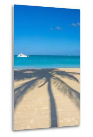 Antigua, Jolly Bay Beach, Palm Trees Casting Shadows-Alan Copson-Metal Print
