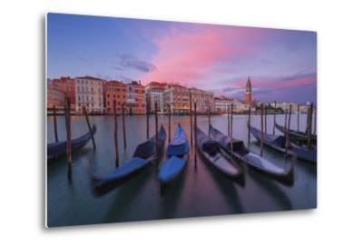 Gondolas at Dorsoduro, Venice, Veneto, Italy. in the Background the St. Mark's Bell Tower-ClickAlps-Metal Print