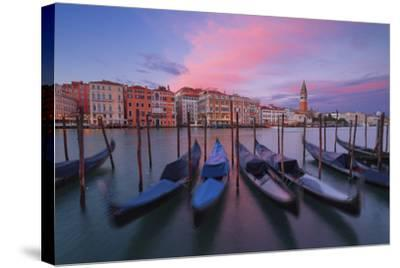 Gondolas at Dorsoduro, Venice, Veneto, Italy. in the Background the St. Mark's Bell Tower-ClickAlps-Stretched Canvas Print