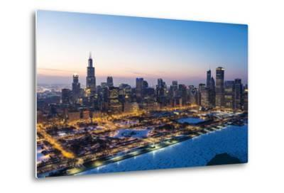 Usa, Illinois, Chicago. Aerial Dusk View of the City and Millennium Park in Winter.-Nick Ledger-Metal Print