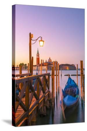 Riva Degli Schiavoni, Venice, Veneto, Italy. Moored Gondolas in Front of San Giorgio Maggiore-Marco Bottigelli-Stretched Canvas Print