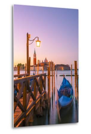 Riva Degli Schiavoni, Venice, Veneto, Italy. Moored Gondolas in Front of San Giorgio Maggiore-Marco Bottigelli-Metal Print