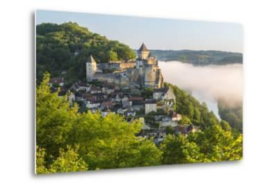 Early Morning Mist, Chateau De Castelnaud, Castelnaud, Dordogne, Aquitaine, France-Peter Adams-Metal Print
