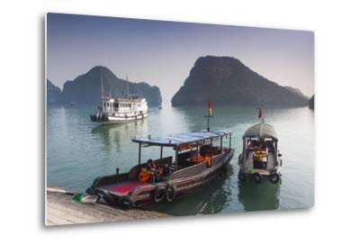 Vietnam, Halong Bay, Tito Island, Water Taxis-Walter Bibikow-Metal Print