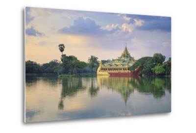 Myanmar (Burma), Yangon (Rangoon), Shwedagon Paya (Pagoda), Karaweik Hall and Kandawgyi Lake-Michele Falzone-Metal Print