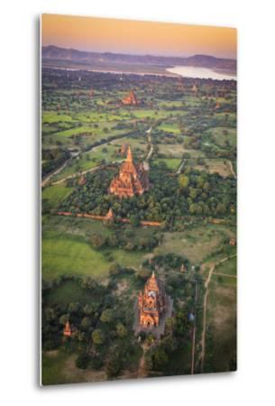 Myanmar (Burma), Temples of Bagan (Unesco World Heritage Site) Elevated View from Baloon-Michele Falzone-Metal Print