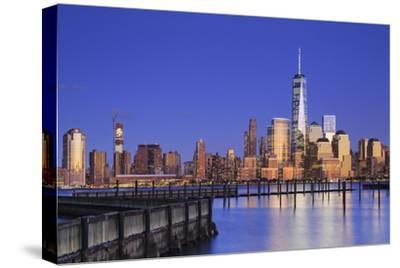 Usa, New York, New York City, Lower Manhattan Skyline from Newport Beach-Michele Falzone-Stretched Canvas Print
