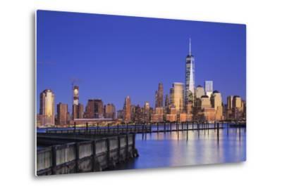 Usa, New York, New York City, Lower Manhattan Skyline from Newport Beach-Michele Falzone-Metal Print