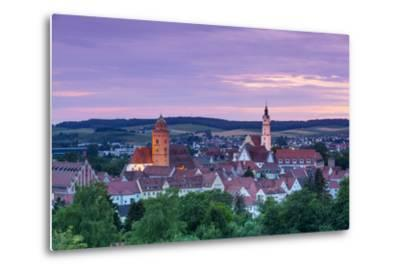 Elevated View over Donauworth Old Town Illuminated at Sunset, Donauworth, Swabia, Bavaria, Germany-Doug Pearson-Metal Print