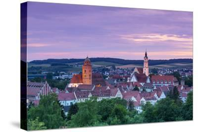 Elevated View over Donauworth Old Town Illuminated at Sunset, Donauworth, Swabia, Bavaria, Germany-Doug Pearson-Stretched Canvas Print