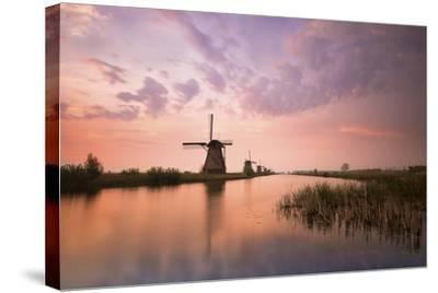 Kinderdijk, Netherlands the Windmills of Kinderdijk Resumed at Sunrise.-ClickAlps-Stretched Canvas Print