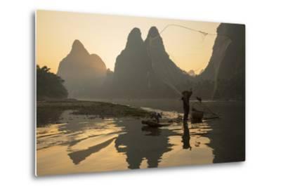 Cormorant Fisherman Throwing Net on Li River at Dawn, Xingping, Yangshuo, Guangxi, China-Ian Trower-Metal Print