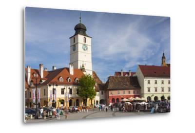 Romania, Transylvania, Sibiu, Piata Mica Square and Council Tower-Walter Bibikow-Metal Print
