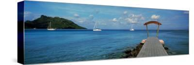 Boats in the Pacific Ocean, Tahiti, French Polynesia--Stretched Canvas Print