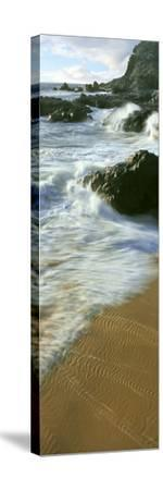 Wave and Sand Patterns on Beach, Cerritos Beach, Baja California Sur, Mexico--Stretched Canvas Print