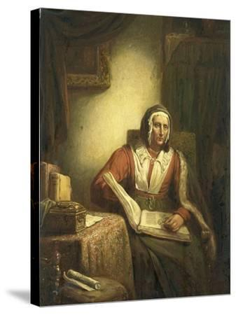 Old Woman Reading-George Gillis Haanen-Stretched Canvas Print